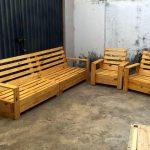 handcrafted wooden pallet patio sitting set