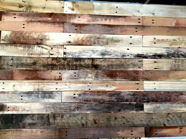 rustic pallet wood paneled wall