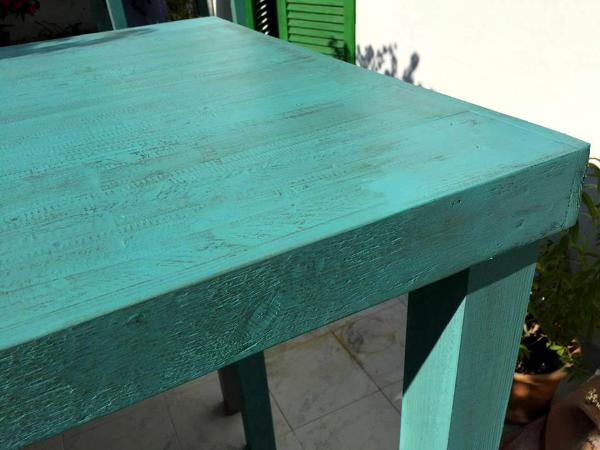 diy turquoise painted pallet mini table