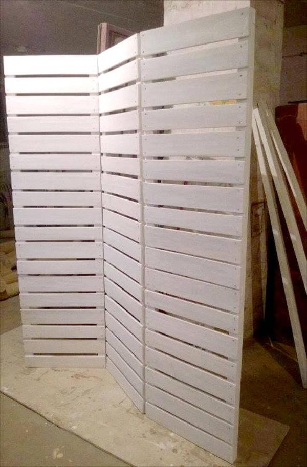 white stained pallet room divider