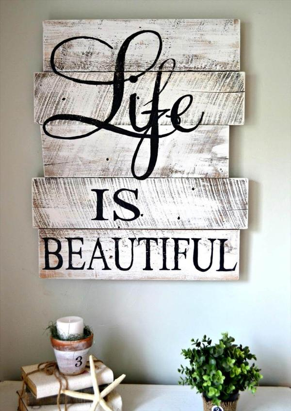 distressed white pallet wall art