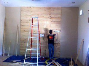 DIY Pallets Made TV Wall Paneling