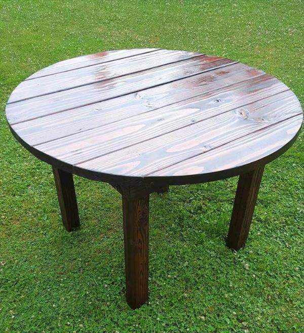 diy pallet round top dining table