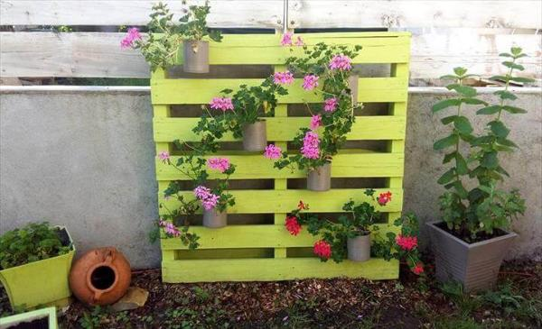 light green painted pallet vertical flower garden