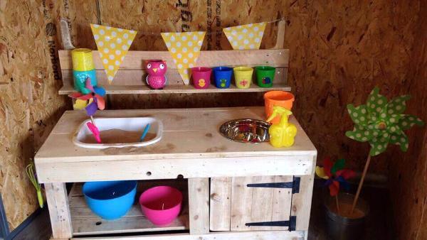 handcrafted pallet mud kitchen for kids