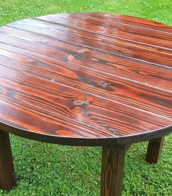 Recycled pallet round top dining table