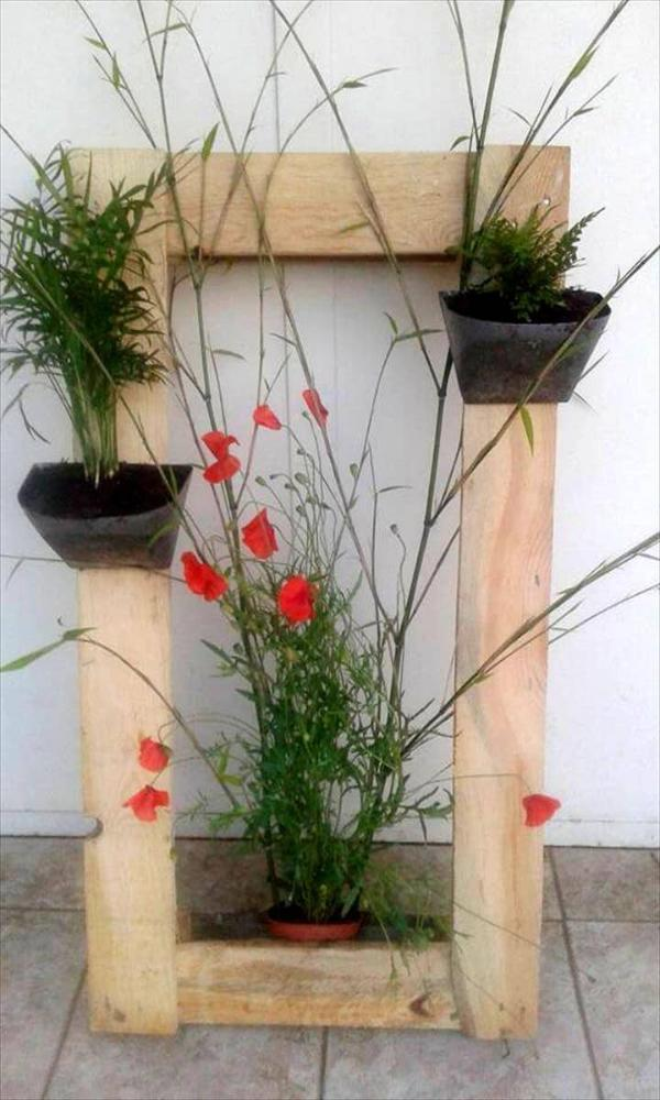 reclaimed pallet wood accent planter frame