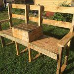 Wooden pallet bench with cooler
