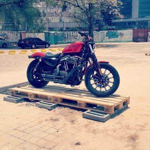 Wooden pallet bike rack