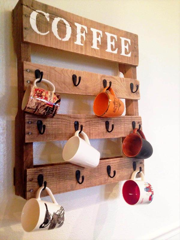 wooden pallet coffee cup rack