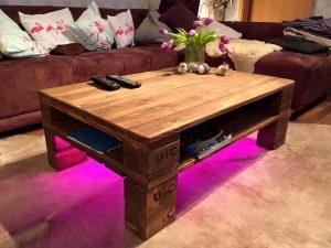 Rustic Pallet Coffee Table + LED Lights