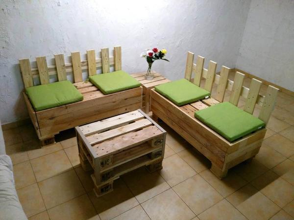 handmade wooden pallet corner sofa