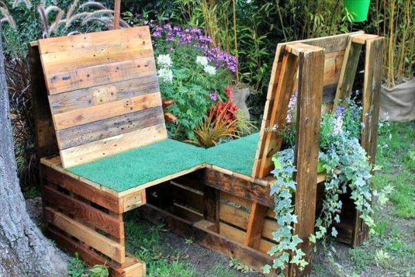 wooden pallet double chair bench