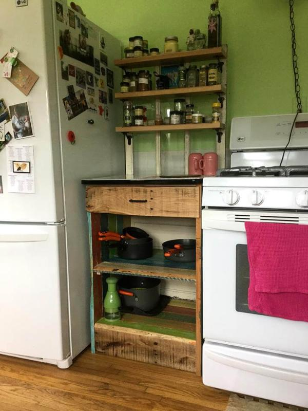 custom wooden pallet kitchen hutch