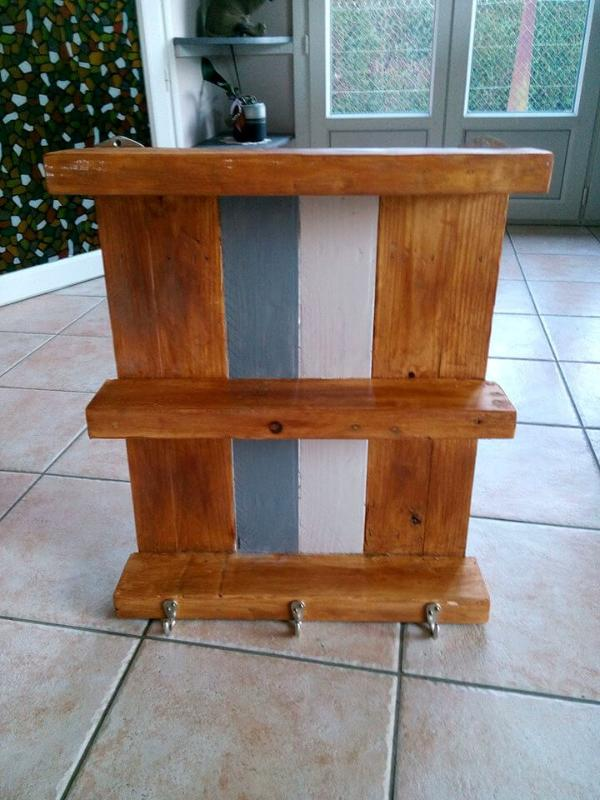 recycled pallet shelf with hooks
