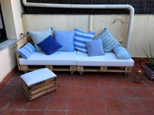 repurposed wooden pallet sofa with matching ottoman