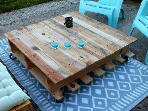 Pallet-Made Set of Wooden Bench and Coffee Table
