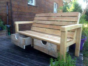 Wood Pallet Outdoor Bench with 2 Drawers
