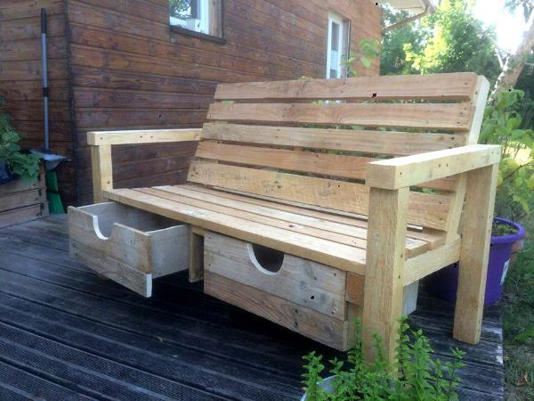 handcrafted wooden pallet bench with 2 drawers