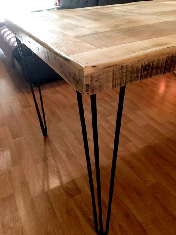 handcrafted wooden pallet dining table with metal hairpin legs