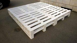 DIY White Painted 8 Pallet Bed