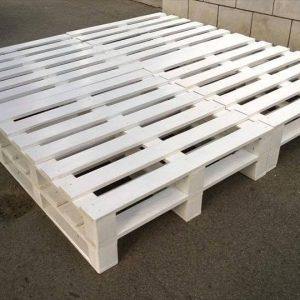 chic white painted 8 pallet bed frame