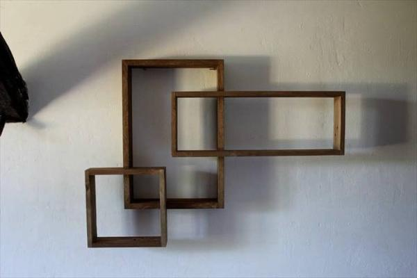 pallet geometrical wall shelves