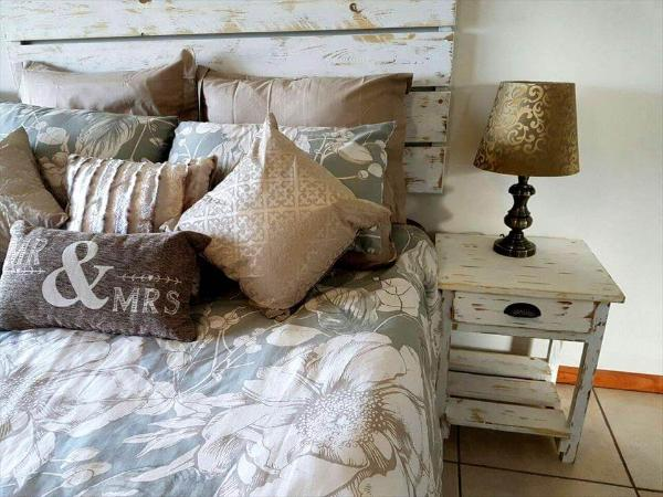 Upcycled pallet headboard and bedside table