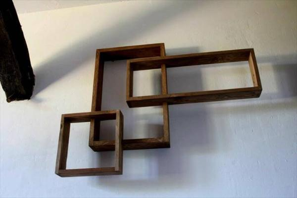 repurposed wooden pallet 3D geometrical wall shelves