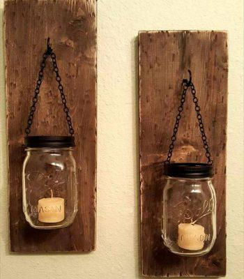 Gorgeous pallet and mason jar candle holders