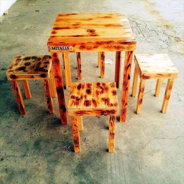 cute pallet breakfast table and chairs