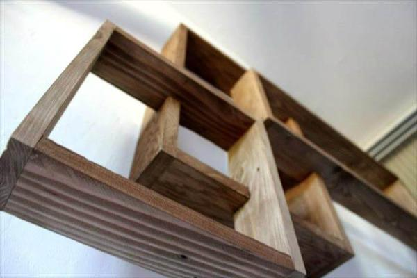 reclaimed wooden pallet geometrical wall shelves