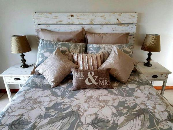 headboard and bedside table from pallets