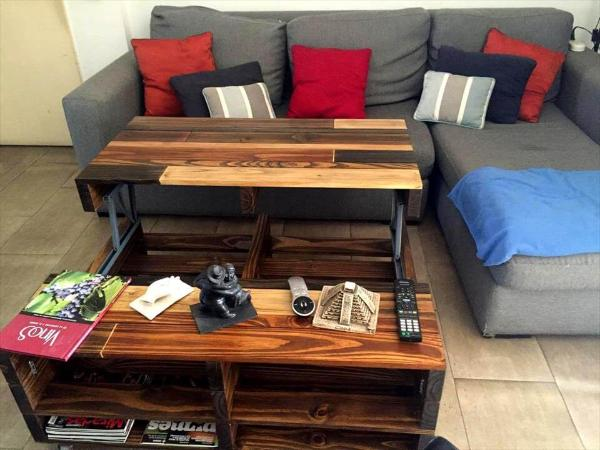 Diy lift up top pallet coffee table with storage wheels for Lift top coffee table building plans