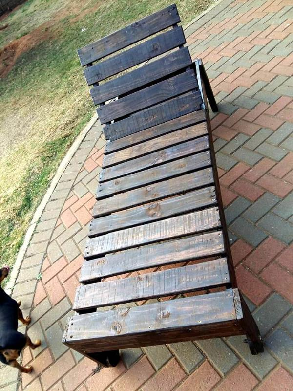 sturdy wooden pallet lounger