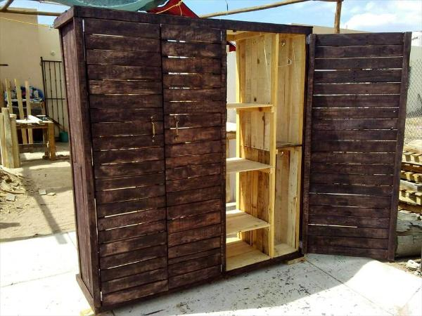 handcrafted wooden pallet closet or wardrobe