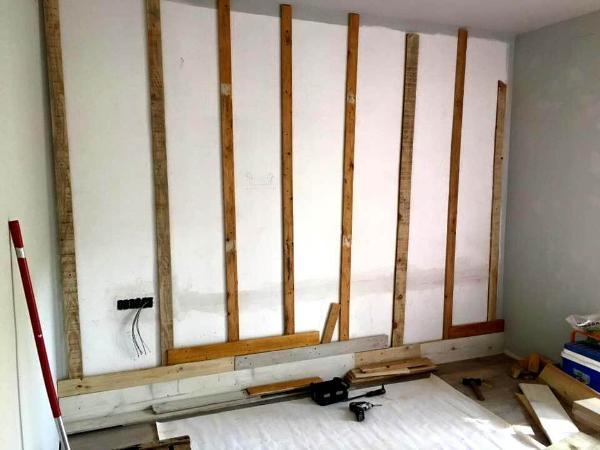 Handmade pallet wall paneling