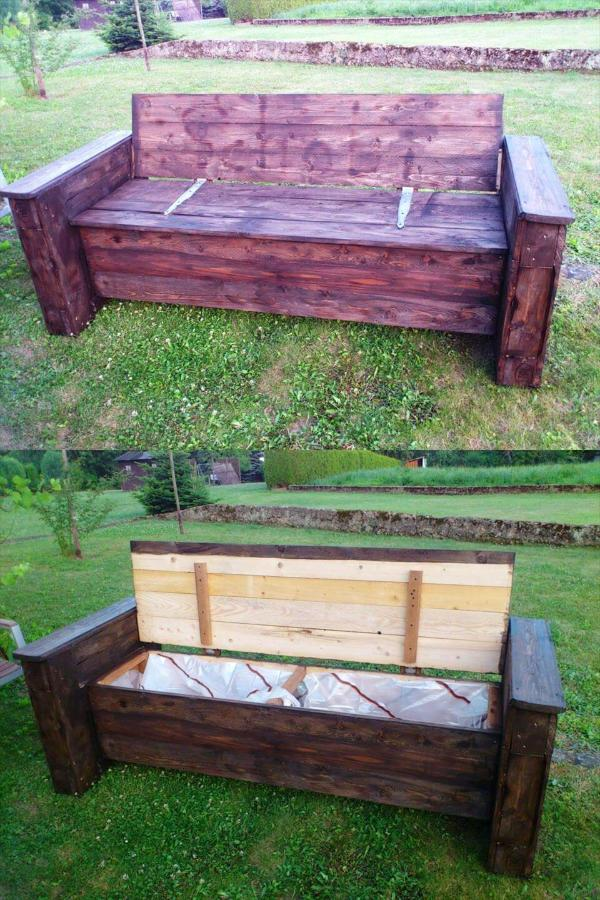 block style pallet garden bench with storage in the seat