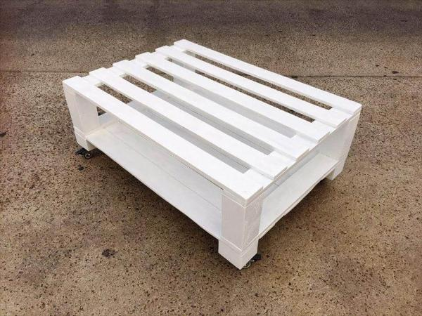 chic white pallet coffee table on wheels