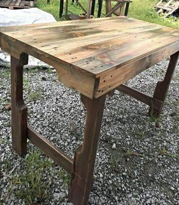 recycled pallet table with scorched surfaces