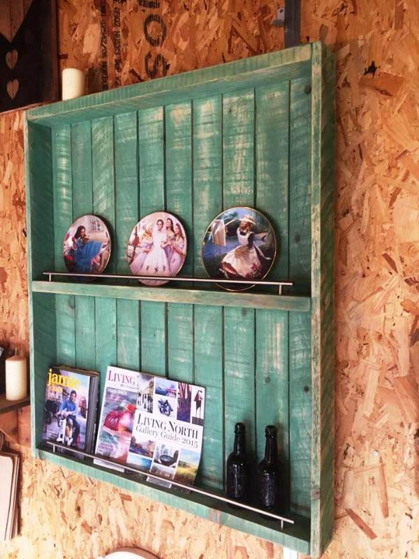 recycled pallet wall display unit