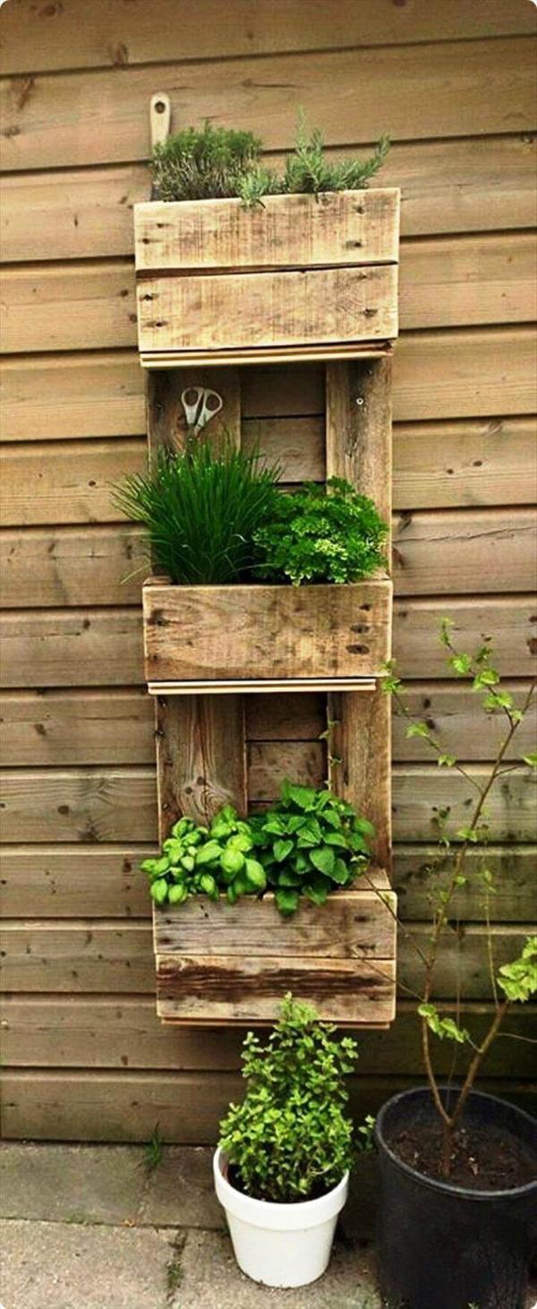 wooden pallet wall mounted planter tower
