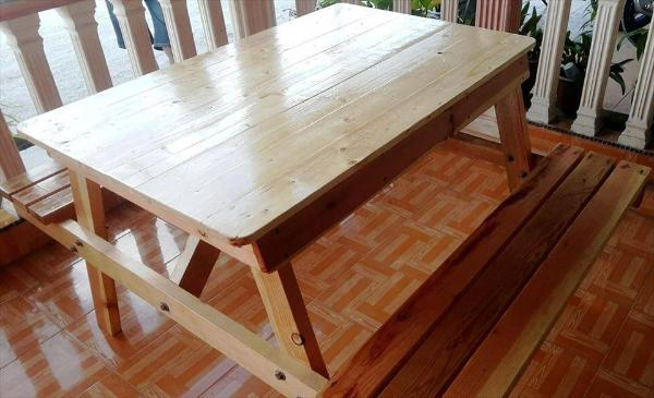 hand-built wooden pallet picnic table