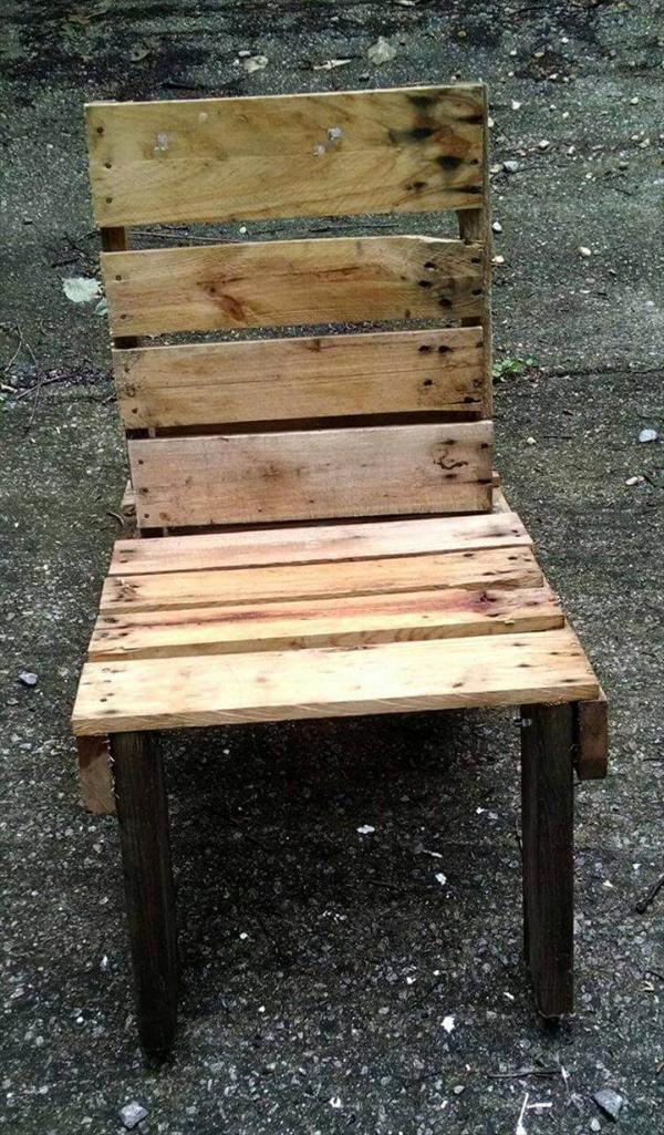 upcycled rustic pallet outdoor chair