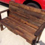 low-cost stained pallet patio bench