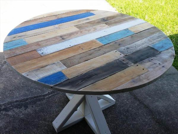handcrafted round top pallet coffee table