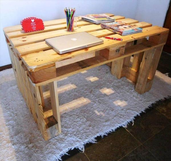 robust wooden pallet desk or study table