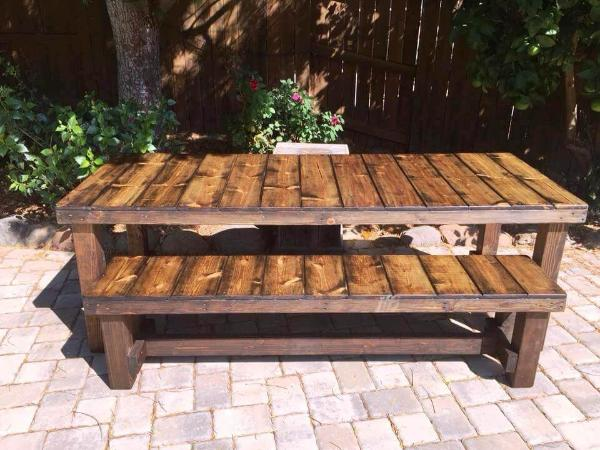 large pallet table with matching bench