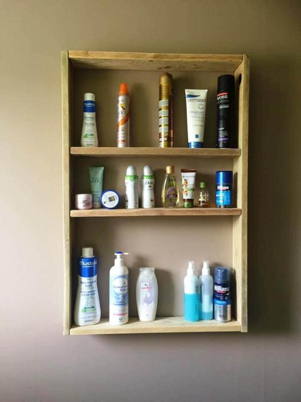 handmade pallet toiletries shelf