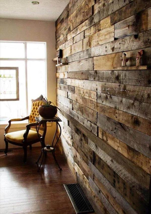 rustic wooden pallet living room accent wall